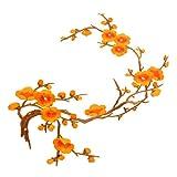 Baoblaze Stickerei Pflaumenblüte Blume Aufbügelbilder Aufnäher Stern Stickerei Patches Flicken Applikation DIY - Orange, 37cm * 14cm