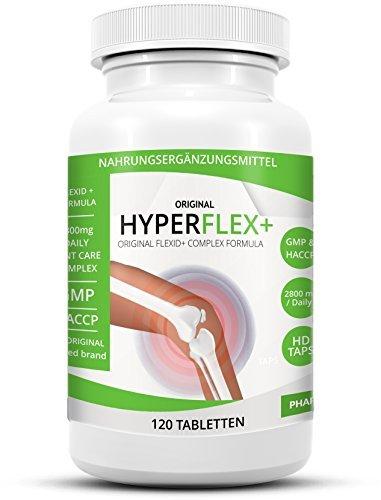 HYPERFLEX+ Einzigartiger Glukosamine Chondroitin Multikomplex mit 2800mg! Tagesdosis - angereichert mit MSN, Kollagen, Vitamin C und Ingwerwurzel.