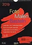 Foto-Malen-Basteln Bastelkalender A4 schwarz 2019: Fotokalender zum Selbstgestalten. Do-it-yourself Kalender mit festem Fotokarton.
