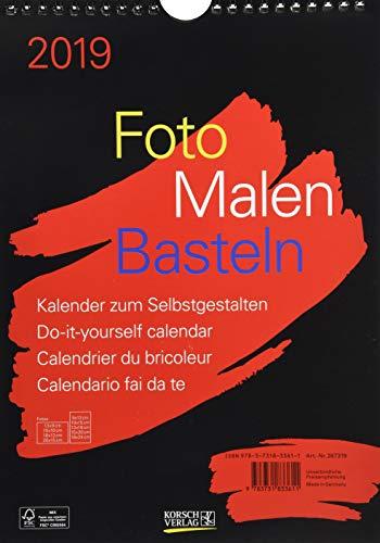 FMB schwarz A4 267319 2019: Fotokalender zum Selbstgestalten. Do-it-yourself Kalender mit festem Fotokarton.