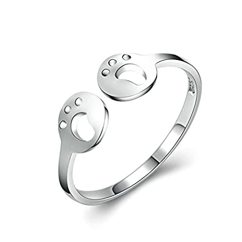 Aooaz Womens Rings Sterling Silver Rings Wedding Band Promise Ring Adjustable Ring Hollow Footprint