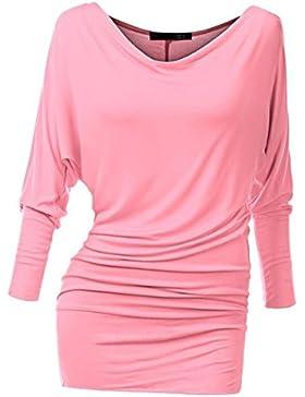 Hibote Mujer Camisa larga Off Shoulder Top suave cómodo Túnica Batwing Mini vestido de color sólido Camisa holgada...
