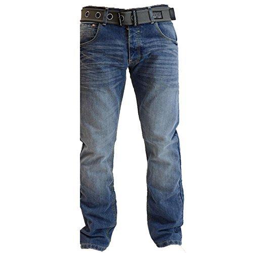 Herren Crosshatch Techno Stone Wash Jeans Geprägt Denim-hose Mit Gratis  Gürtel - mittlere Waschung
