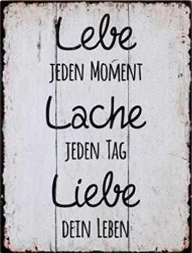 G.H. Vintage Retro Blechschild mit Spruch: LEBE Lache Liebe, Material Metall, Maße 33 x 25 cm, Gilde Markenartikel, Farbe weiß