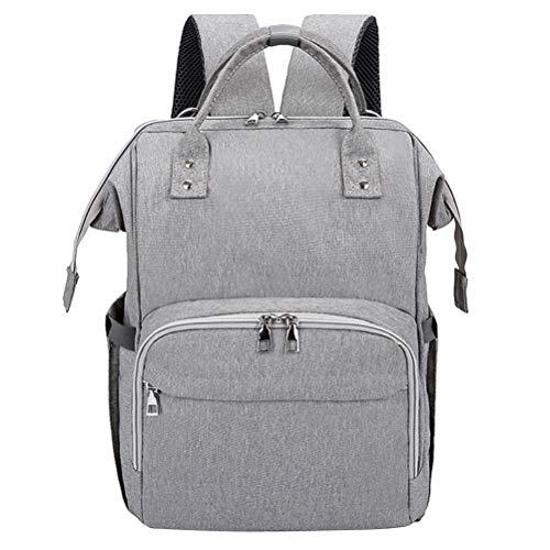 Preisvergleich Produktbild SoonerQuicker Mummy Mode Neue Tasche Windel Aufladbare Große Kapazität Baby Tasche Reiserucksack Pflegetasche (grau)