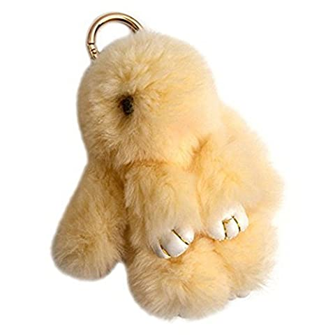 80Store Newest Christmas Gift Faux Fur Cute Mini Rabbit Doll Keychain Car Key Ring Women's Bag Charm Handbag Pendant 13CM (Light