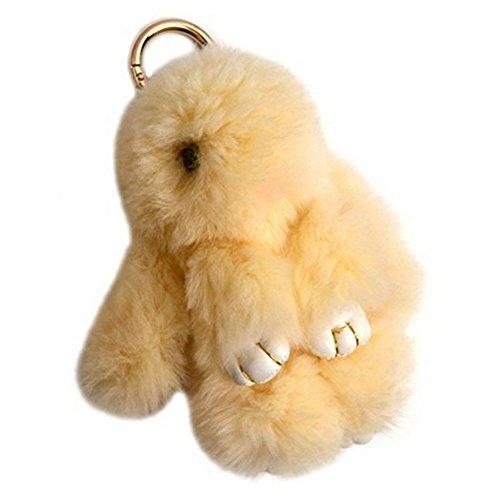 80Store Neuester Weihnachtsgeschenk Faux Pelz Nette Mini Kaninchen Puppe Keychain Auto Schlüsselring Frauen Beutel Charme Handtaschen Anhänger 13CM (Schwabbelscheibe)