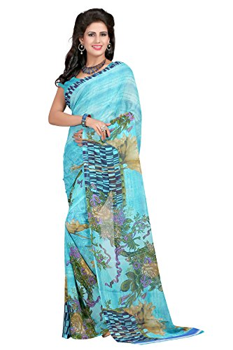 CmDeal Sky Blue Color Faux Georgette Printed Casual Saree with Blouse Piece-5119SE144FL_SE  available at amazon for Rs.349