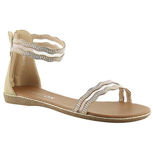 BESTON - Fersen Damen, Beige (beige), 38.5 B(M) EU Heel Strappy Sandal