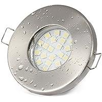12 V faretto da incasso da bagno IP65 colore: acciaio inox spazzolato | (AC/DC) 12 V 5 Watt lampadina LED 450 lumens luce bianca calda | Lampadina sostituibile