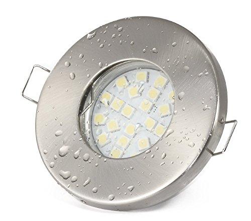 12Volt Bad Einbaustrahler IP65 Farbe: Edelstahl gebürstet | (AC/DC) 12V 4,5Watt LED Leuchtmittel 380Lumen warmweiss | Leuchtmittel austauschbar (12v Einbauleuchten)