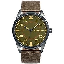 Mark Maddox montre à quartz pour homme avec cadran Vert Affichage analogique et bracelet PU Marron HC0006-64(Reconditionné)
