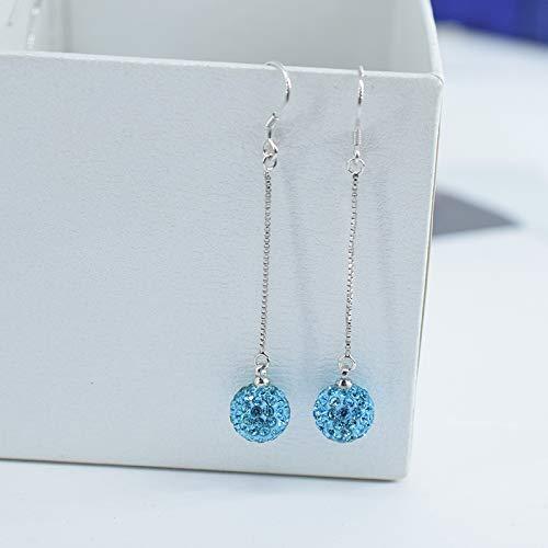 925 Sterling Silber lange Ohrringe rote Persönlichkeit Kristall Diamant Kugel Ohrringe Haken Ohrringe Temperament Perle Anhänger I