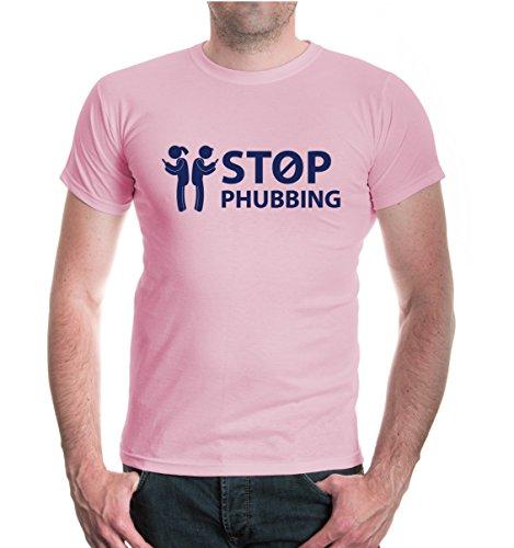 buXsbaum® T-Shirt Stop phubbing Lightpink-Navy