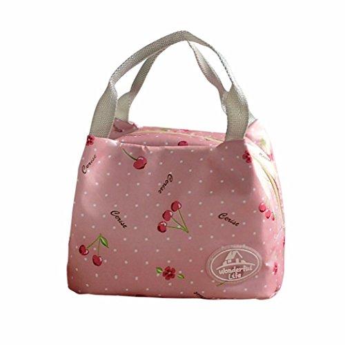 SuperSU Wiederverwendbare Schule Mittagessen Taschen Portable Lunch Bag Tote Kinder Leinwand Picknick Lunch-Taschen Arbeit Lebensmittel Lagerung Tasche LunchBox (Rosa#) (Bag Tote Benutzerdefinierte)