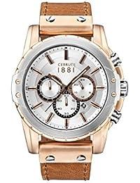 Cerruti 1881 señores-reloj analógico de cuarzo cuero MANTORE CRA130SRT04BR