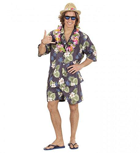 Hawaii Herren-Kostüm Hemd Shorts Kette Urlauber Tourist Party Strand Hose Shirt JGA, (Hawaii Mottoparty Outfit)