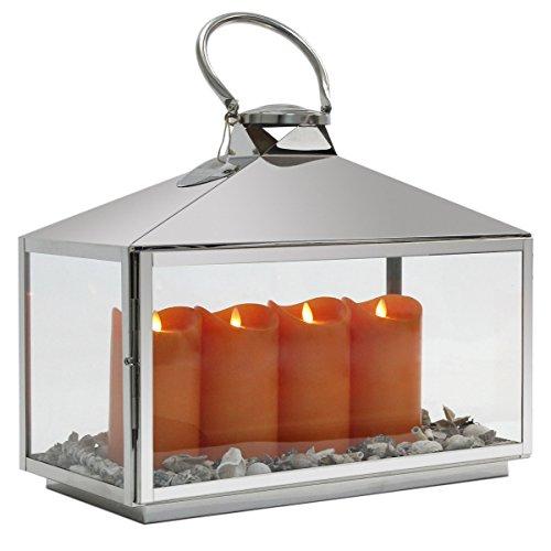 Dekovita XXL Edelstahl Laterne B:50cm Gartenlaterne inkl 4 Tronje LED Kerzen i Orange m beweglicher Flamme inkl Dekoset