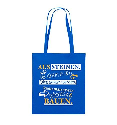 Comedy Bags - Aus Steinen, die einem in den Weg gelegt werden, kann man etwas schönes Bauen. - Jutebeutel - lange Henkel - 38x42cm - Farbe: Schwarz / Weiss-Neongrün Royalblau / Weiss-Gelb