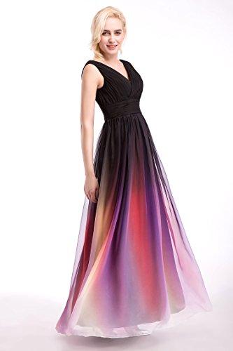 Bridal_Mall Robe de soirée pour femme- Robe longue au dos nu en mousseline multicolore Gradient9187