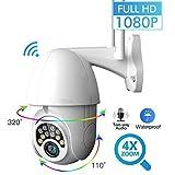 Fsskgx Telecamera IP senza fili a 360 gradi WiFi Telecamera IP 1080P esterna PTZ 2.0MP Supporto audio a due vie