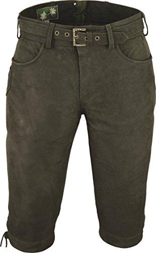 """""""Fuente""""Pantalon de chasse homme cuir avec Ceinture - Lederhosen- Pantalon en cuir-Oktoberfest Costume Homme Femme -3 4 Pantalon Cuir- Lederhosen Costume-Trachtenhose cuir véritable Vert"""