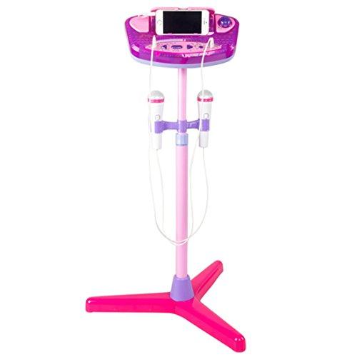 Karaoke Maschine, Foxom Kinder Karaoke Standmikrofon Verstellbar with 2 Mikrofon Musik Spielzeug Karaoke Set (Rosa)