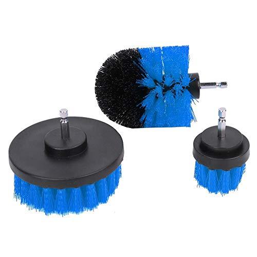 Zoternen - Set di 3 spazzole in plastica Rotonde per Trapano Elettrico, per la Pulizia di superfici di Bagno, tappeti, Vetro, Auto, Pneumatici Blu