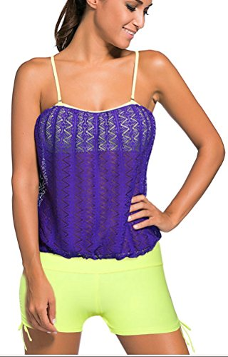 SunIfSnow Bikini Damen Tankini, Einfarbig Gr. Medium, Purple Shorts (Full-bademode American Bottom Bikini)