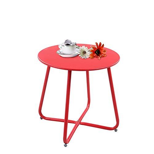 Fer Petite Table Basse Table Basse Salon Chambre Plateau Rond Simple Table D'appoint Rouge