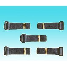 Lote de 5 Correas de velcro negras, 25 mm x 40 cm, para equipaje, maletas