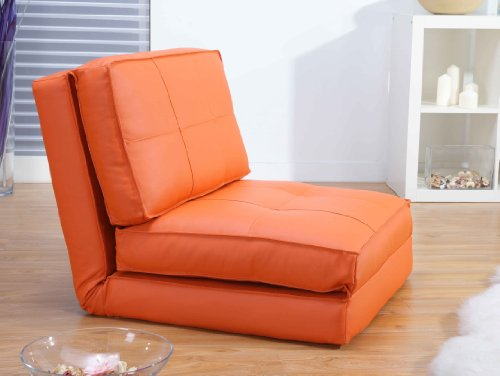 ARTDECO Schlafsessel Jugendsessel Gästebett Kindersessel Klappsessel Kunstleder orange groß