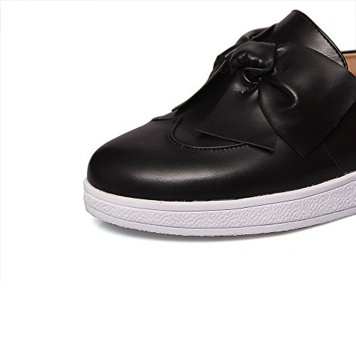 VogueZone009 Femme Couleur Unie Pu Cuir Rond à Talon Bas Tire Chaussures Légeres Noir