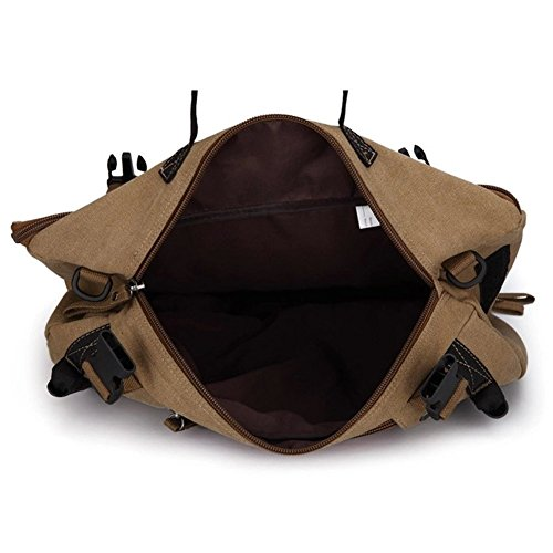 Best canvas backpack in India 2020 MOCA 4in1 Canvas casual Backpack Vintage Military Messenger Hiking Camping outdoor Trip Tour Travel Duffel Shoulder Casual Bag BackPack Rucksack 0208 (Inexperienced) Image 9