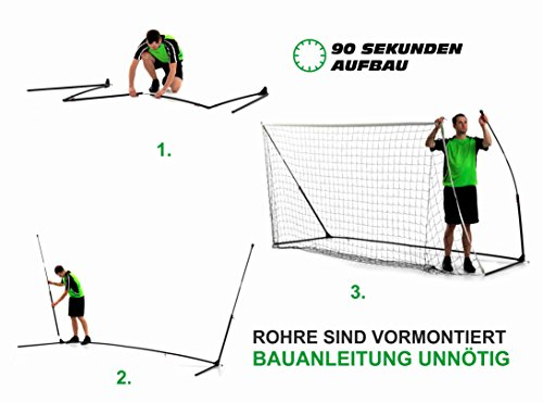 QUICKPLAY Kickster Academy Tragbares 2,4 x 1,5m Fußballtor - 2