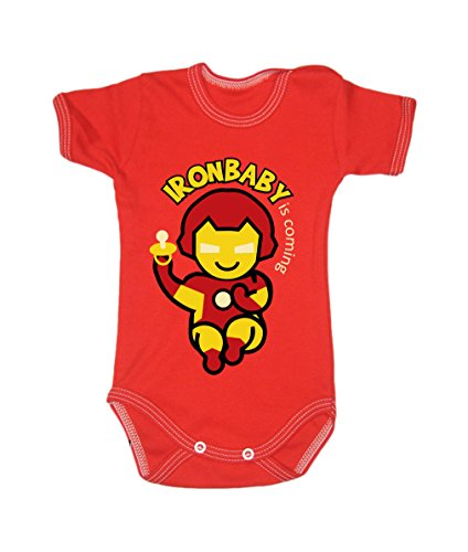Farbe Fashion Baby Ironman Bodys 0-24 Monate rot 0-3 months, 62cm