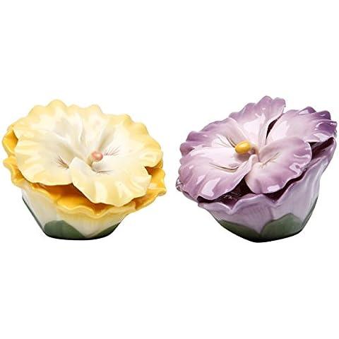6,35 cm giallo e viola del pensiero fiori sale e pepe shaker set