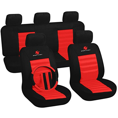 Preisvergleich Produktbild Universal Auto Sitzbezug Sitzbezüge Schonbezüge Sport Serie schwarz / rot AS7266