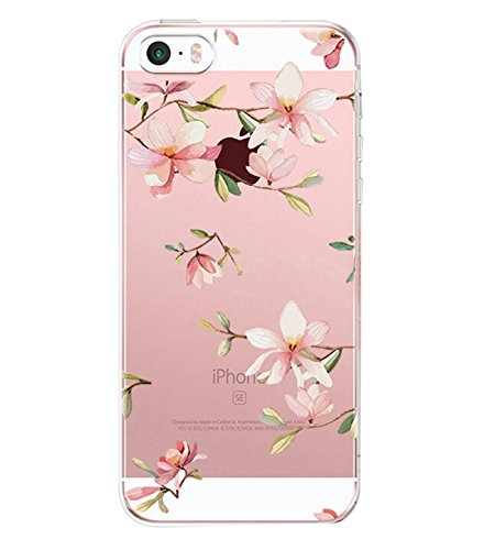 ier® TPU Silikon Abdeckung Schutzhülle Transparent Cover Rose Blume Mandala Case für iPhone 5 5s SE (iPhone 5 5s SE, Flower 07) (Iphone 5 Case Blumen)