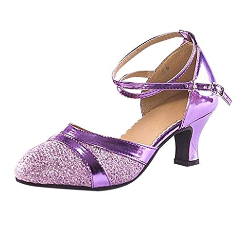 Deloito Damen Mode Elegant Ballsaal Tango Latein Salsa Tanzschuhe Party Hochzeit Sozial Pailletten Schuhe Weicher Boden Spitze Absätze Tanzschuh (Lila,38 EU) - Spitze Damen Toms Schuhe