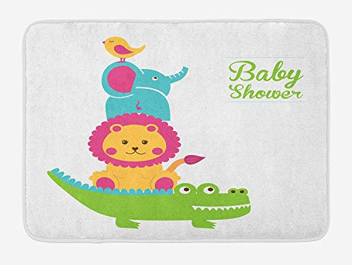 ziHeadwear Baby Shower Bath Mat, Crocodile Lion Elephant and Bird Funny Animals Nursery Design Baby Shower Theme, Plush Bathroom Decor Mat with Non Slip Backing, 29.5 W X 17.5 W Inches, Multicolor