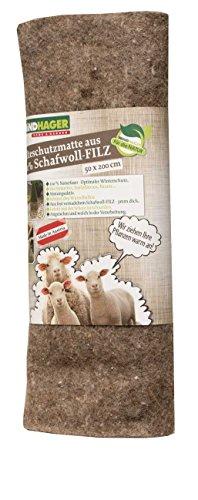 Windhager feutre Tapis en laine de mouton 2 x 0,5 m gris