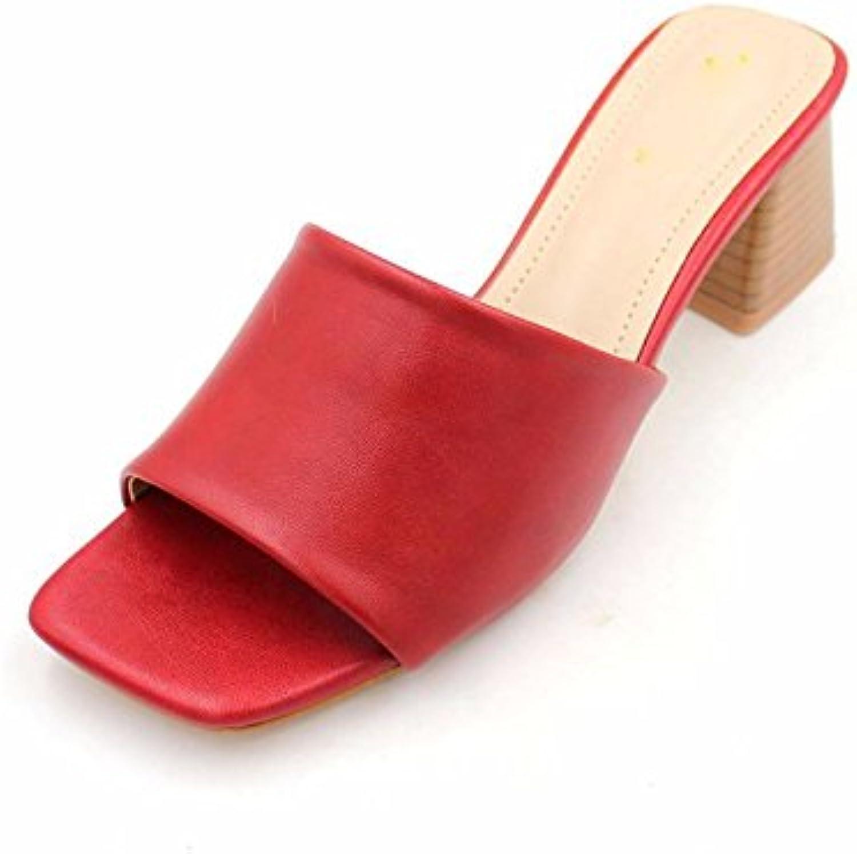 GTVERNH Zapatillas de Tacón Medio de 5 cm de Tacón Alto, Zapatillas Cómodas y Frescas para Mujer, Gules, Thirty-Five -
