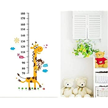 Decals Design StickersKart Wall Stickers Kids Giraffe Height Chart Removable Large Vinyl (Multi-Colour)