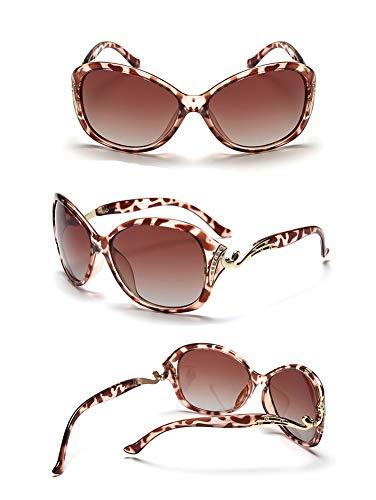 Sonnenbrillen Für Frauen, Retro Polarisierte Gläser, Anti-UV400, Anti-Glare, Geeignet Für Dating, Shopping, Fahren, Reisen, Strand Freizeit,Leopard