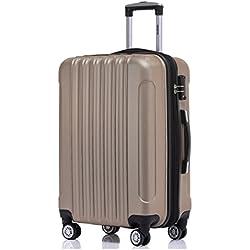 Zwillingsrollen 2050 Hartschale Trolley Koffer Reisekoffer in M-L-XL-Set in 12 Farben (Champagner, Großer Koffer (76 cm)+TSA Schloß)
