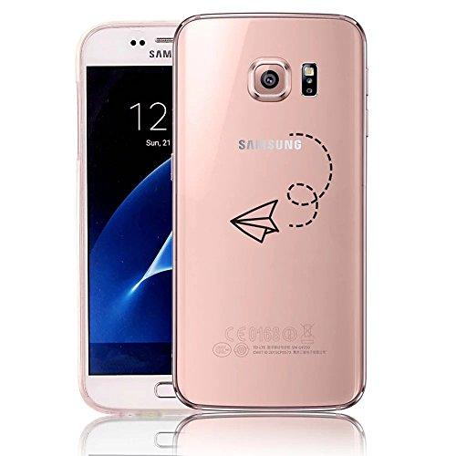 Coque Samsung Galaxy S6 Edge TPU Case Cover Absorption de Choc Hull, Vandot Samsung Galaxy S6 Edge Etui Silicone Souple Transparente Case Très Légère Housse Ajustement Parfait Coque pour Samsung Galax Avion