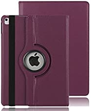 Mcart 360 Degree PU Leather Rotating Magnetic Auto Sleep/Wake Function Smart FlipStand Case Cover for Apple iPad (9.7-inch, Purple)