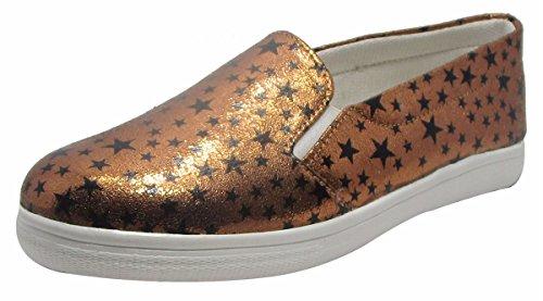 Sammy chaussures loafer confort star imprimé des femmes slip-on appartements chaussures Marron
