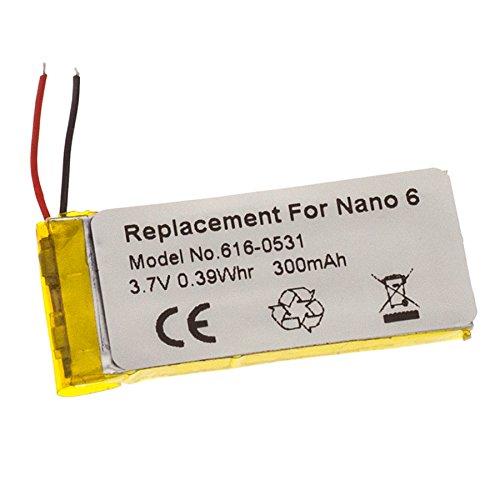 MTEC Akku 300mAh 3,7V 1,1Wh für Apple iPod Nano 6. Generation/6. Gen/6G/ersetzt Originalakku Bezeichnung: 616-0531 (Ipod-akku)
